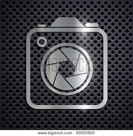 Flat Metallic Icon Camera.