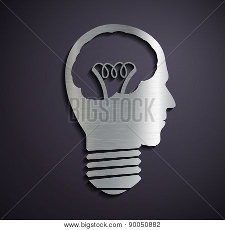 Flat Metallic Icon Bulb Of A Human Head.