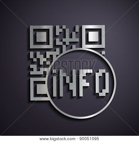 Flat Metallic Icon Qr Code.