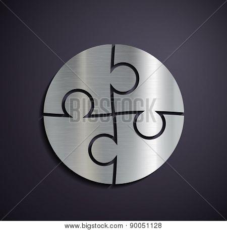 Flat Metallic Icon Puzzle.