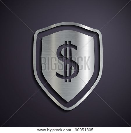 Flat Metallic Icon Dollar.