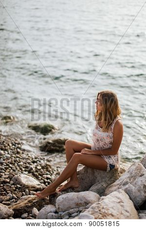 Dreamy Girl On Beach With Sea View