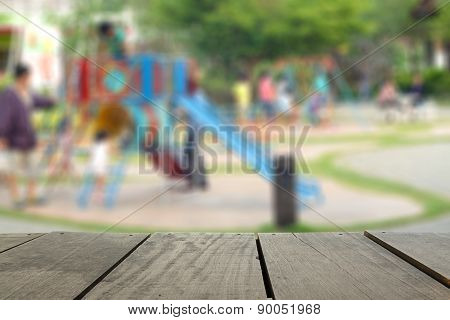 Defocus And Blur Image Of Terrace Wood And Joyful Friends Having