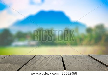 Defocused And Blur Image Of Terrace Wood And Scenery View Point