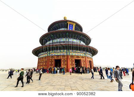 Beijing, China - March 30, 2015 - Tourists Visiting The Temple Of Heaven (tiantan), Beijing, China.