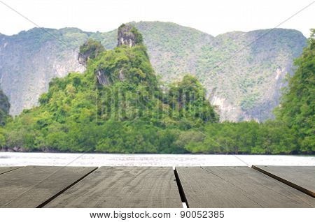 Defocus And Blur Image Of Terrace Wood And Beautiful Mountain Mi
