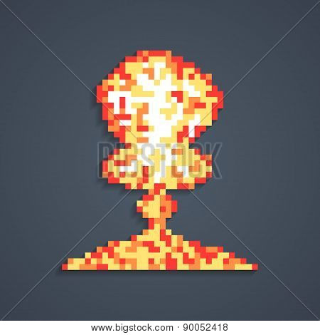 pixel art atomic explosion with shadow