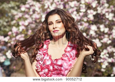Girl Brunette In A Flower Dress.