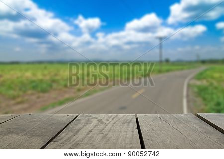 Defocused And Blur Image Of Terrace Wood And Road Scenery View F