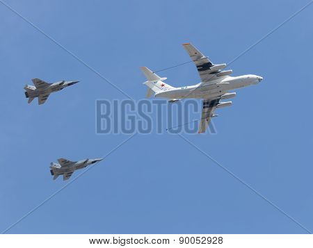 Steam Refueling Military Attack Aircraft In The Air
