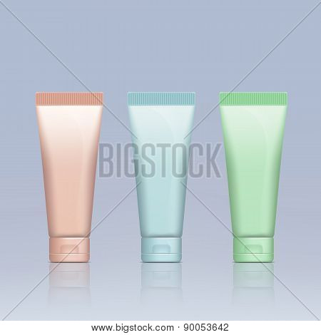 Set Of Plastic Tubes For Cosmetics.