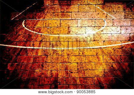 Basketball Court With Red Brick Wall