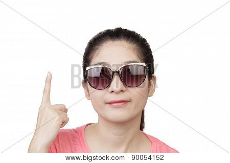 Asian Woman Smiling And Wearing Glasses, Finger Point Up On White Background
