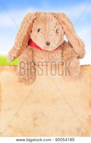 Rabbit, Holding Old Grunge Canvas Fabric Burn Edge For Happy Easter Eggs Festival On White Backgroun