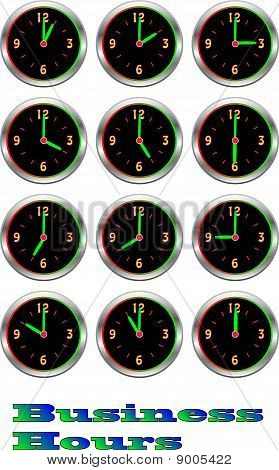 Collection of luminous clocks showing each Business hour of the day