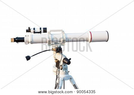 Telescope Isolated On White Background For Search Star Universe, Science Concept