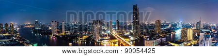 Business Building Bangkok City Area At Night Life With Transportation Car And Ship As Panorama, High