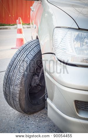Car Crash Accident, Impact To Front Wheel Axle And Bumper Is Broken Cannot Drive, Insurance Concept