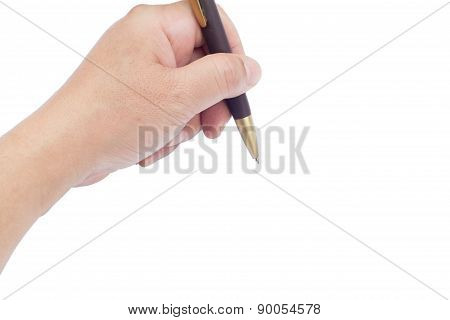 Hand Holding A Pen With Empty Space On The Left Side Isolated On White Background