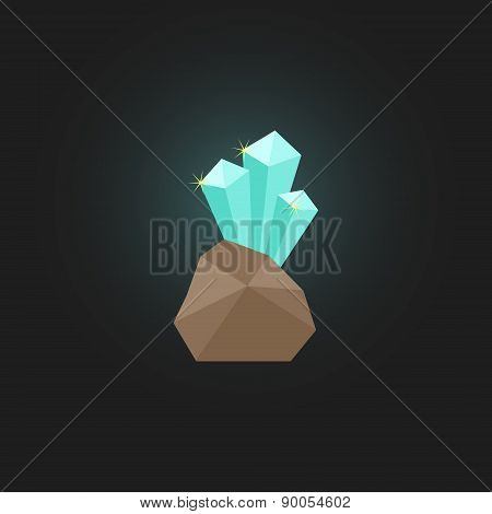 shining crystal with stone
