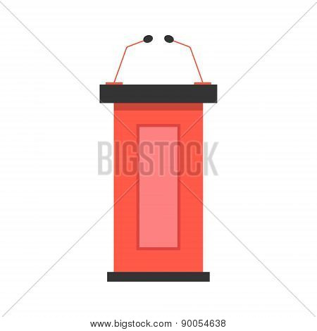 red tribune icon with microphones
