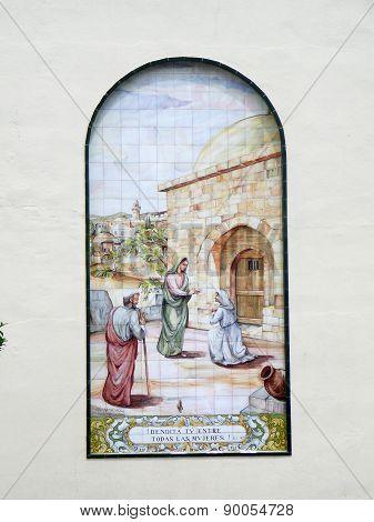 Mural On Church Wall In Malaga