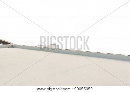 Deck Or Terrace On Rooftop Of Business Building On White With Copy Space Background