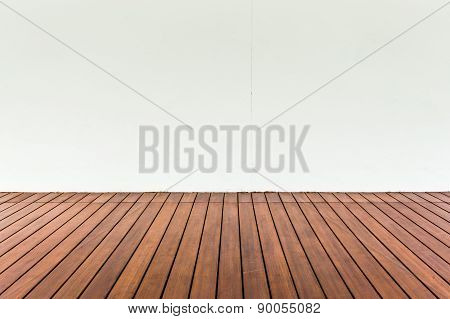 Wood Plank Floor And White Wall, Can Use As Vintage Background