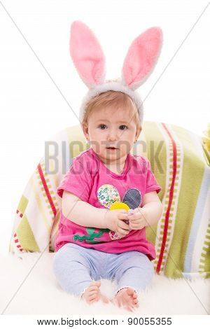 Expressive Baby Girl With Bunny Ears