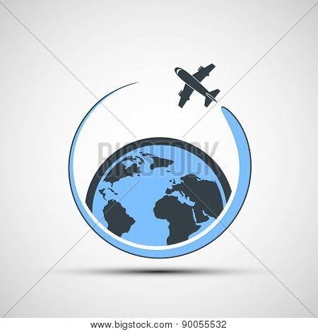 Icon Airplane Fly Around The Earth.