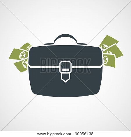 Briefcase With Money Sticking Out.