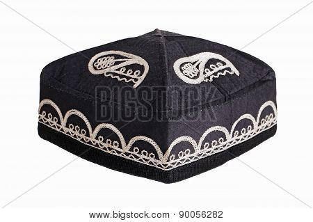 Black Skullcap On A White Background