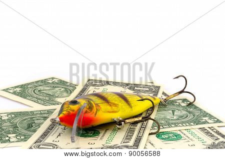 The Fishing bait on one dollar background
