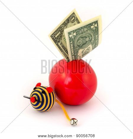 Red balloon piggy Bank with toy mouse
