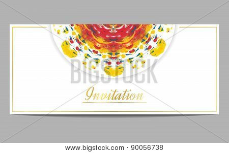 Invitation orr greeteng card with half circle ethnic ornament on white background