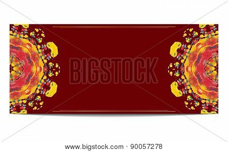 Invitation orr greeteng card with half circle ethnic ornament on red background