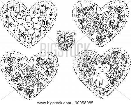 Five decorated heart shapes vector
