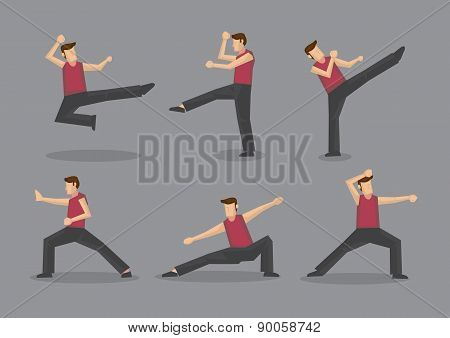 Chinese Kungfu Vector Character Illustration