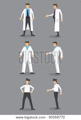 Man In White Uniform Occupation Vector Icon Set