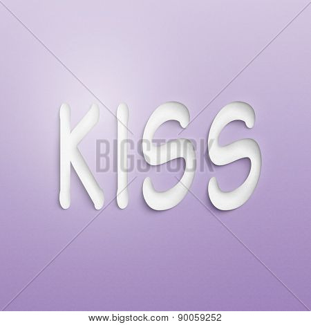 text on the wall or paper, kiss