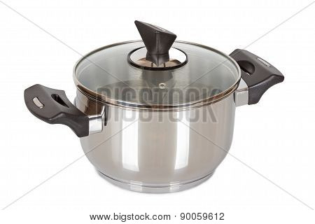Saucepan With Glass Lid Isolated