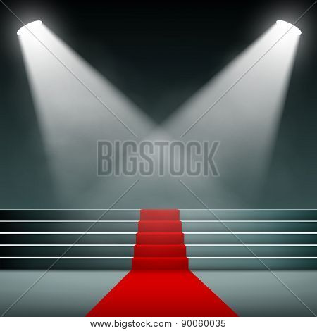 Red Carpet On The Stairs.