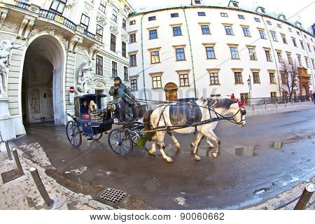 Horse Drawn Fiaker At The Hofburg