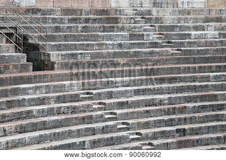 Ancient Roman Steps In The Arena Di Verona In Italy