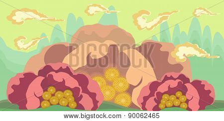 Cartoon Seamless Landscape, Vector Endless Background With Ground And Sky Layers