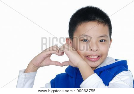 Boy makes a gesture in the form of the heart.