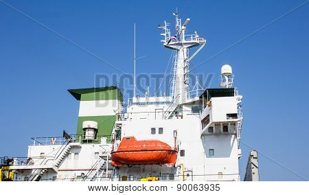 Lifeboat On A Cargo Ship