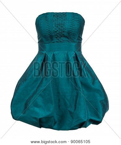 Evening Gown Of Green Silk Taffeta Strapless Isolated On White Background
