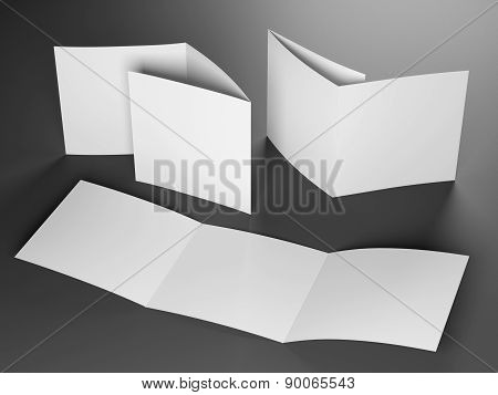 blank template of trifold square brochure on gray background poster