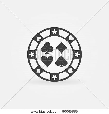 Casino chip vector icon